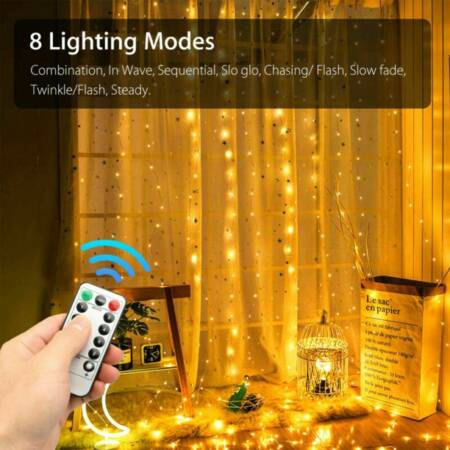 300 LED Curtain Party String Hanging Wall Lights Home Remote Control Koopo Top Pick on Koopo